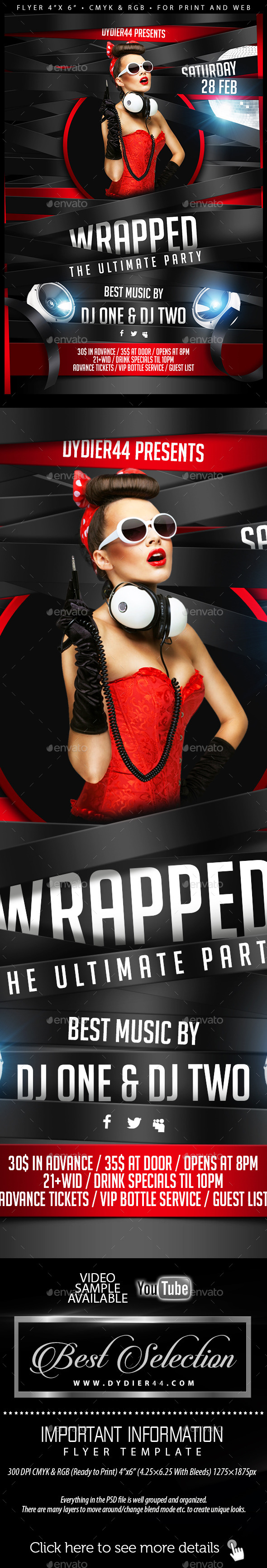 Wrapped (Flyer Template 4x6) - Clubs & Parties Events