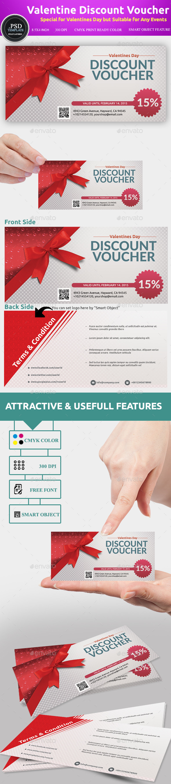 Valentines Discount Voucher Template By Utpal443 | GraphicRiver  Coupons Design Templates