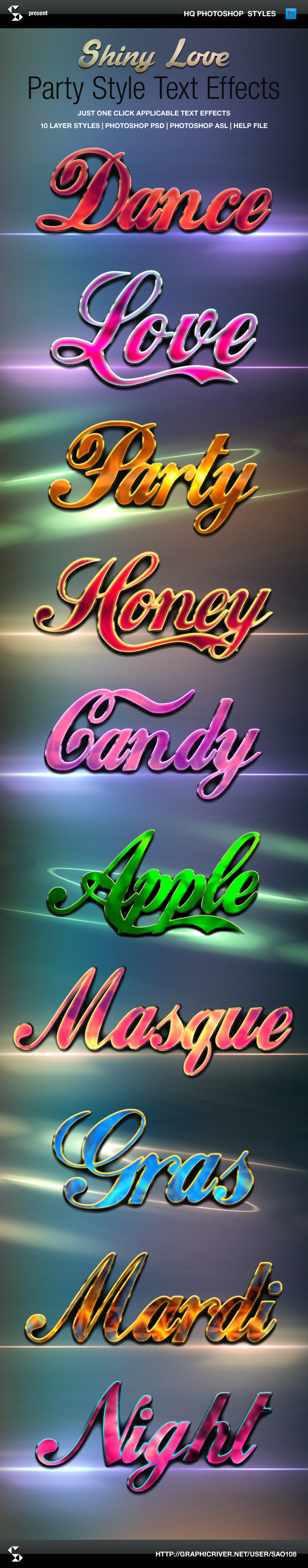 Shiny Love Party Style Text Effects - Text Effects Styles