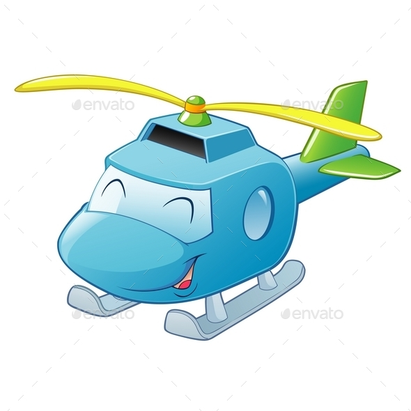 Cartoon Helicopter - Man-made Objects Objects