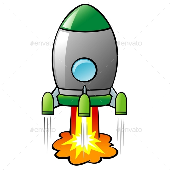 Cartoon Rocket - Man-made Objects Objects