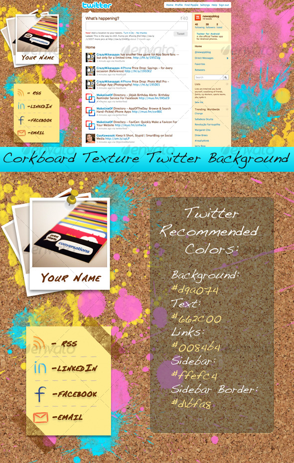 Corkboard Texture Twitter Background - Miscellaneous Web Elements