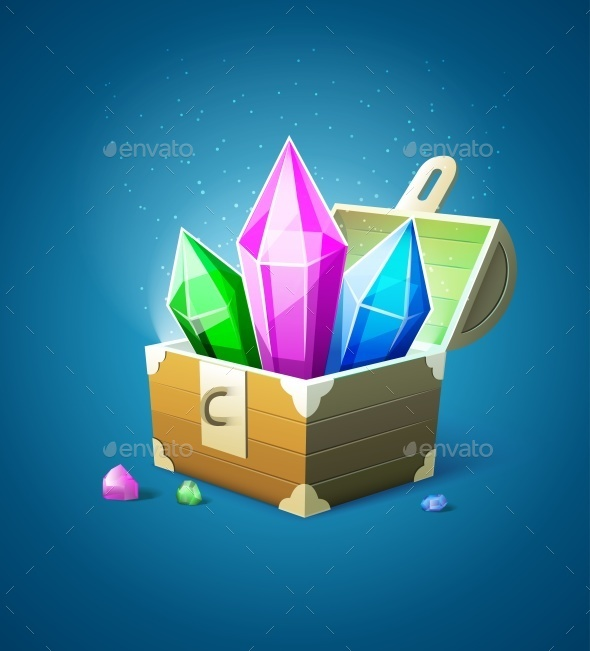 Magic Chest with Precious Stone Crystals - Man-made Objects Objects