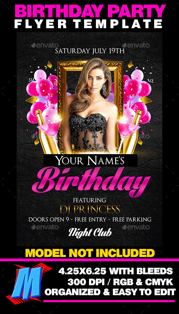 birthday party flyer template by megakidgfx graphicriver