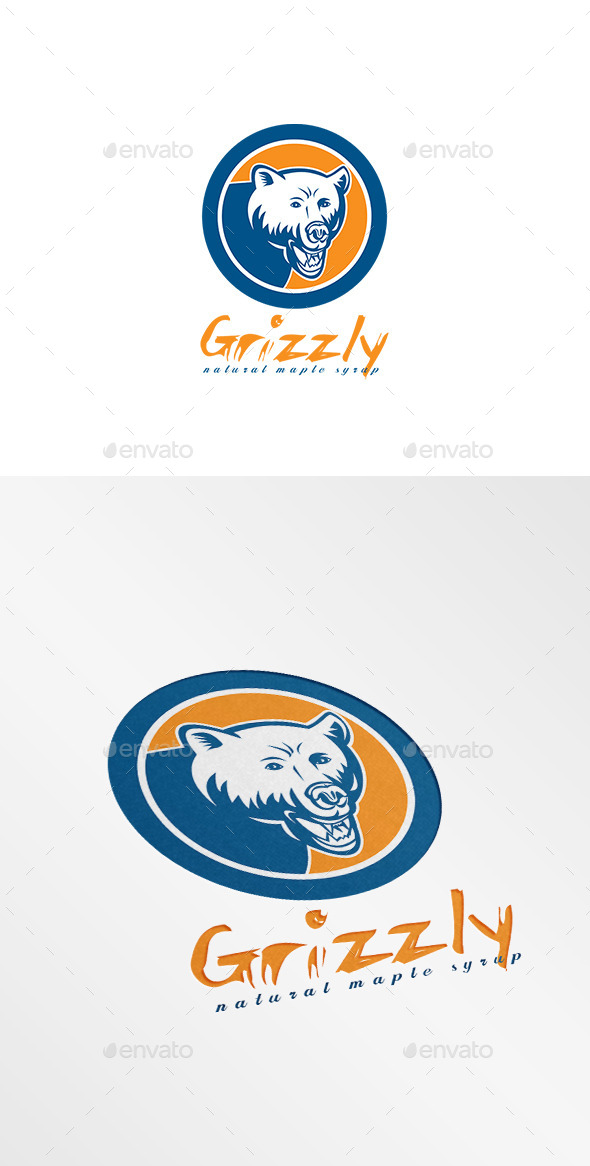 Grizzly Natural Maple Syrup Logo - Animals Logo Templates