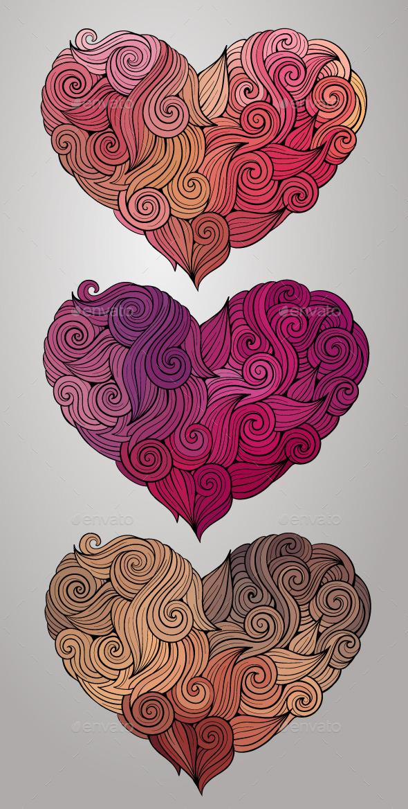 Curly Heart Set - Decorative Vectors