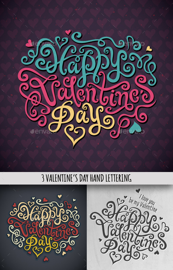 3 Happy Valentine's Day Hand Lettering - Valentines Seasons/Holidays