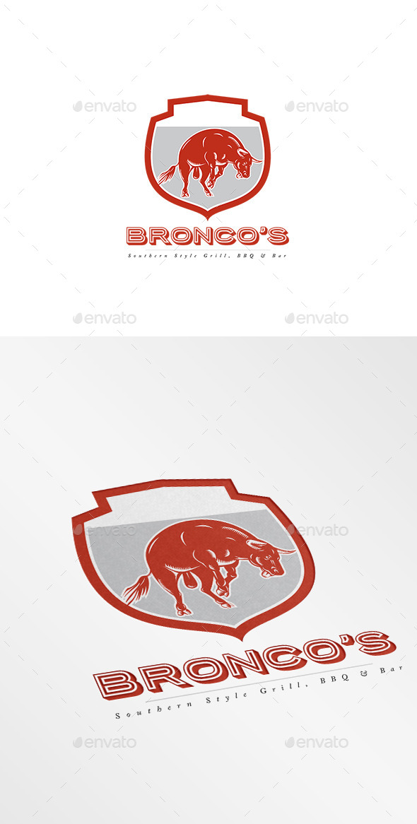Bronco's Southern Bar and Grill Logo - Animals Logo Templates