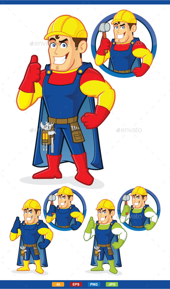 Superhero Construction Guy - People Characters