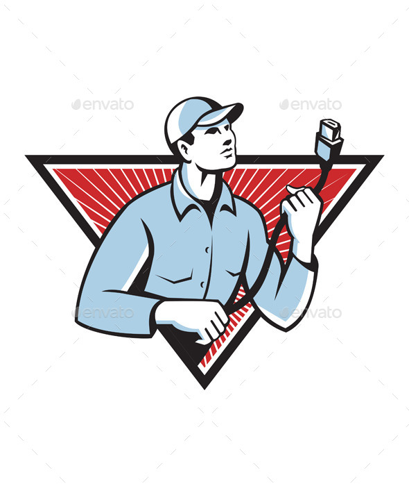 Worker Technician Holding an HDMI Cable  - People Characters