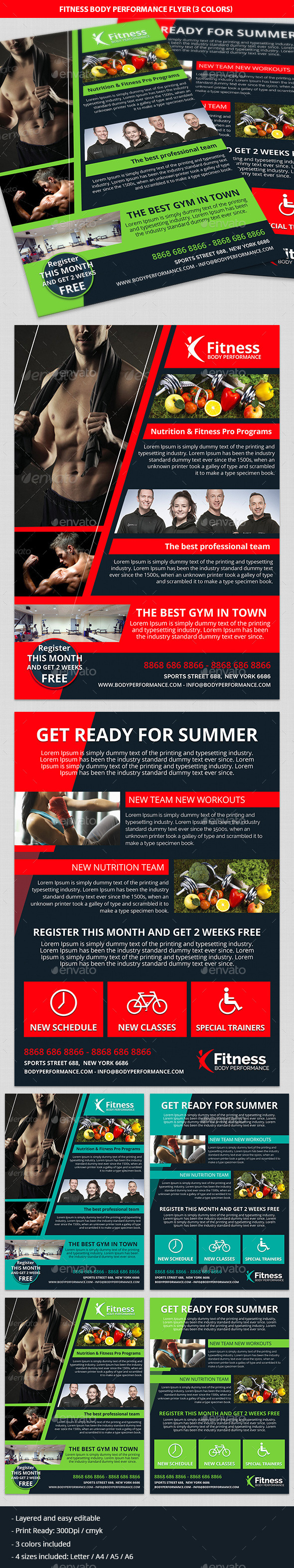 Fitness, Gym & Body Performance Business Flyer - Commerce Flyers