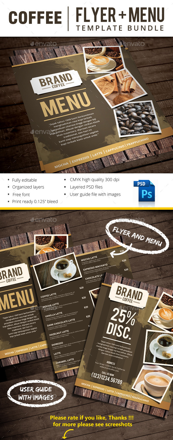 Coffee - Food Menus Print Templates