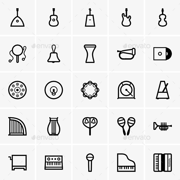 Musical Instrument Icons - Decorative Symbols Decorative