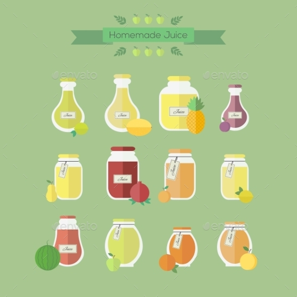 Collection of Jars with Juice - Food Objects