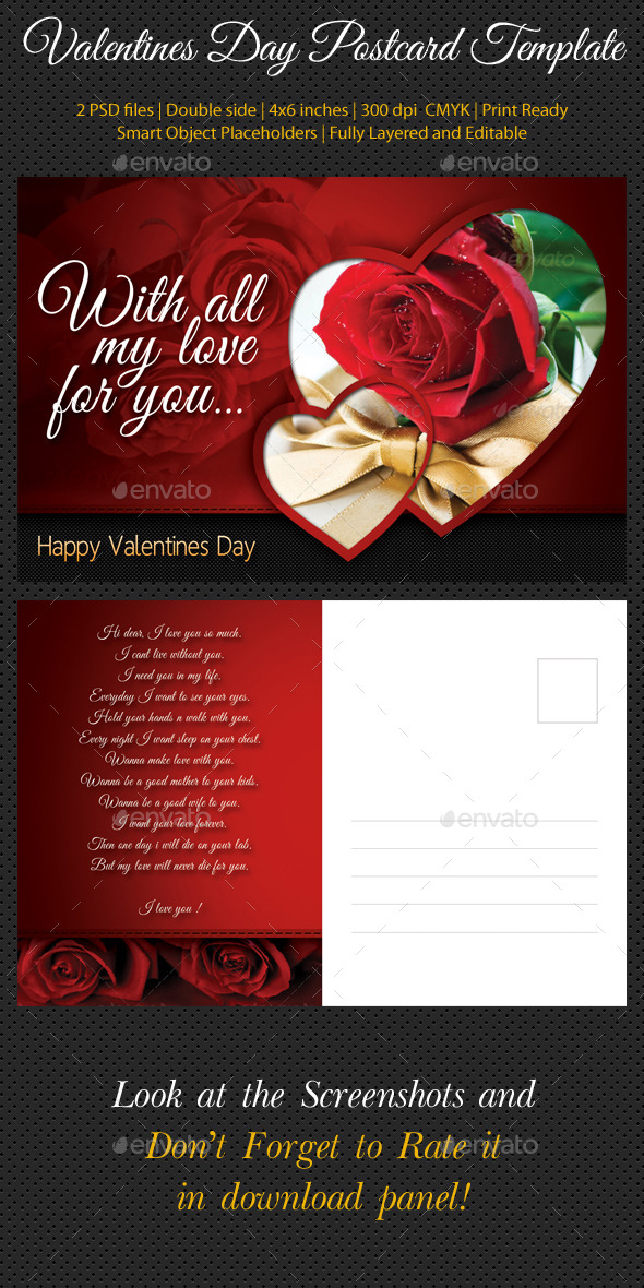 Valentines Day Postcard Template - Cards & Invites Print Templates