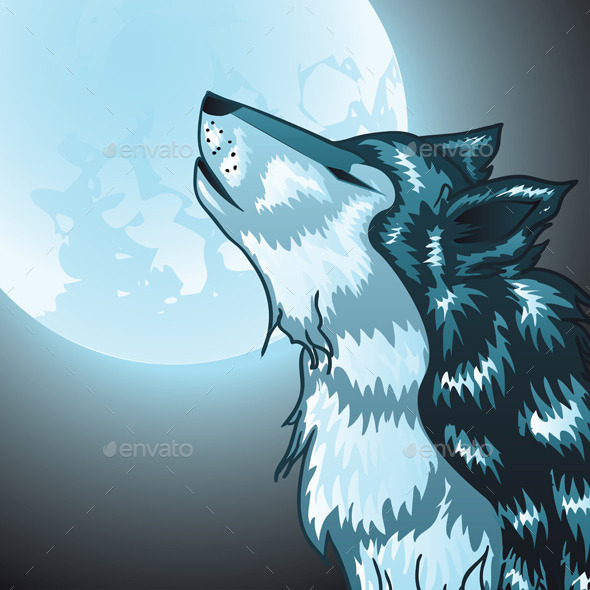 Howling Wolf Head - Animals Characters