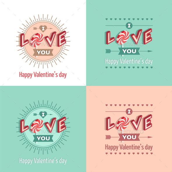 Set of Happy Valentine's Day Greeting Cards - Valentines Seasons/Holidays