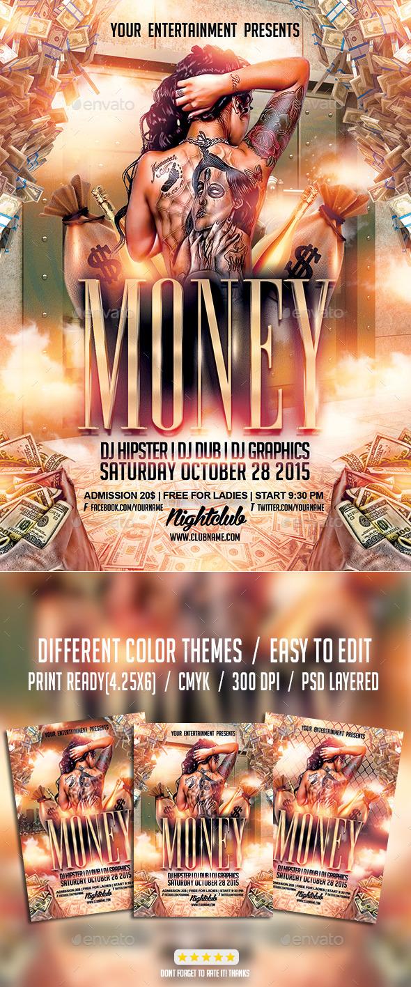 Cash Money Party | Flyer PSD Template - Events Flyers