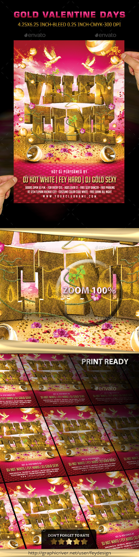 Gold Valentine Party Flyer - Clubs & Parties Events