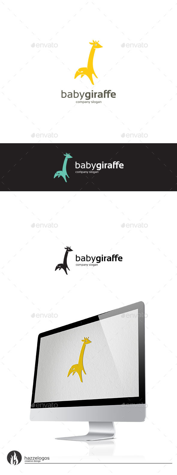 Baby Giraffe Logo - Animals Logo Templates
