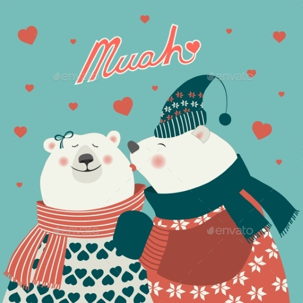 Couple of Kissing Bears  - Animals Characters