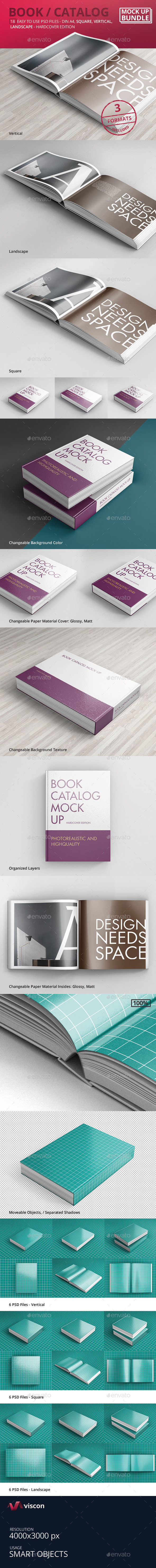 Book / Catalog Mock-Ups Bundle Hardcover Edition - Books Print