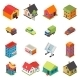 Isometric House Real Estate Car Icons - GraphicRiver Item for Sale