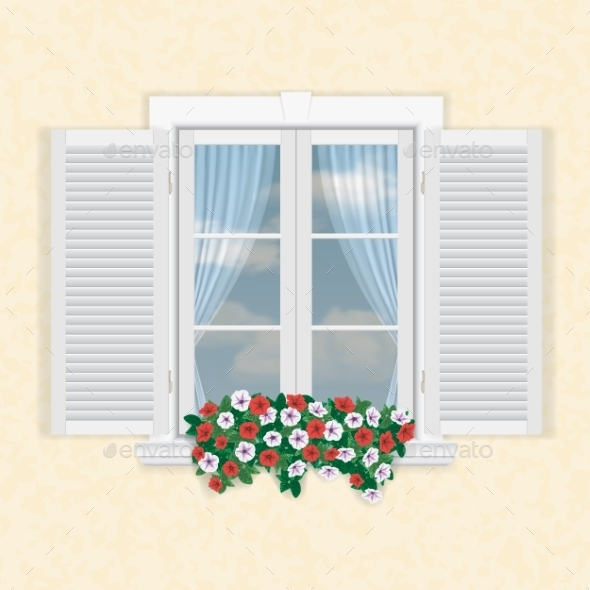 White Window with Shutters and Flowers - Buildings Objects