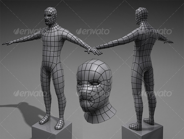 Lowpoly Base Mesh Male - 3DOcean Item for Sale