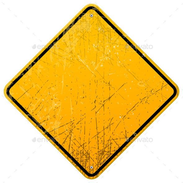 Rusty Yellow Sign - Decorative Symbols Decorative