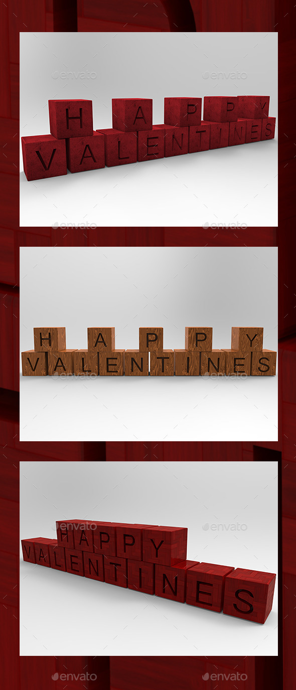 Happy Valentines  3D Render - 3D Backgrounds