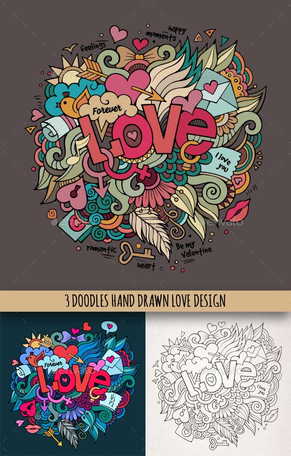 3 Love Doodles Designs - Valentines Seasons/Holidays