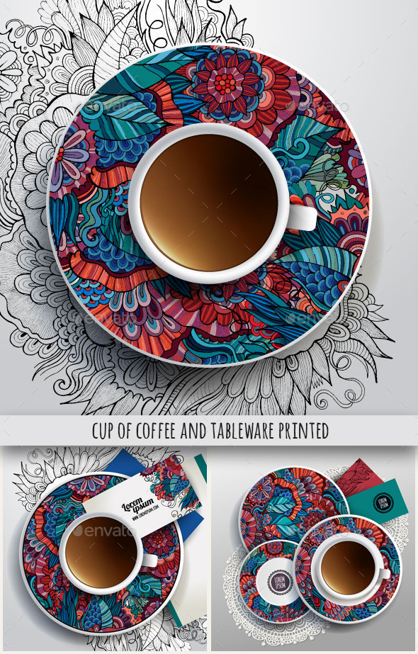 Cup and Tableware Printed Set - Man-made Objects Objects