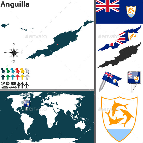 Map of Anguilla - Travel Conceptual
