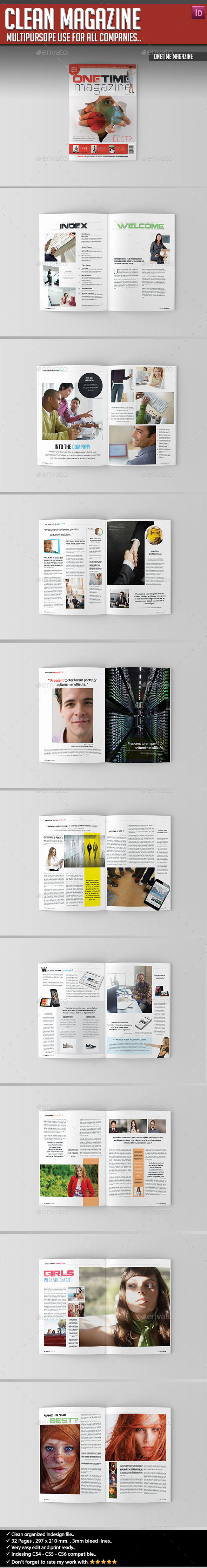 OneTime Magazine - Clean Magazine Template - Magazines Print Templates
