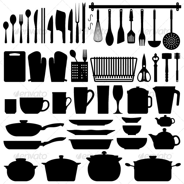 Kitchen Utensils Silhouette Vector by Leremy | GraphicRiver