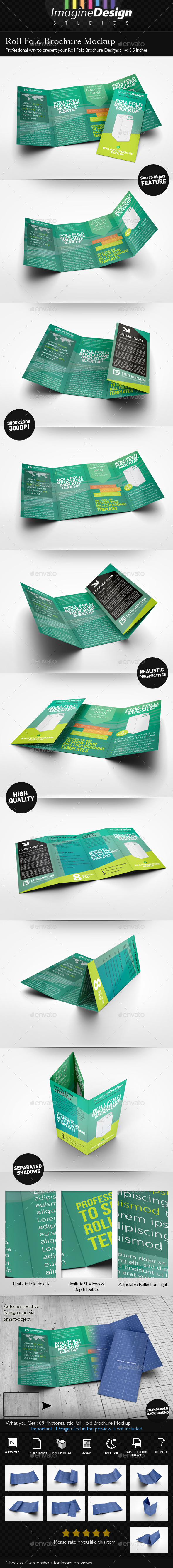 Roll Fold Brochure Mockup - Brochures Print