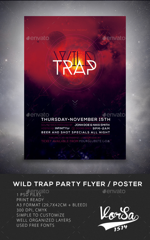 Wild Trap Party Flyer/Poster - Clubs & Parties Events
