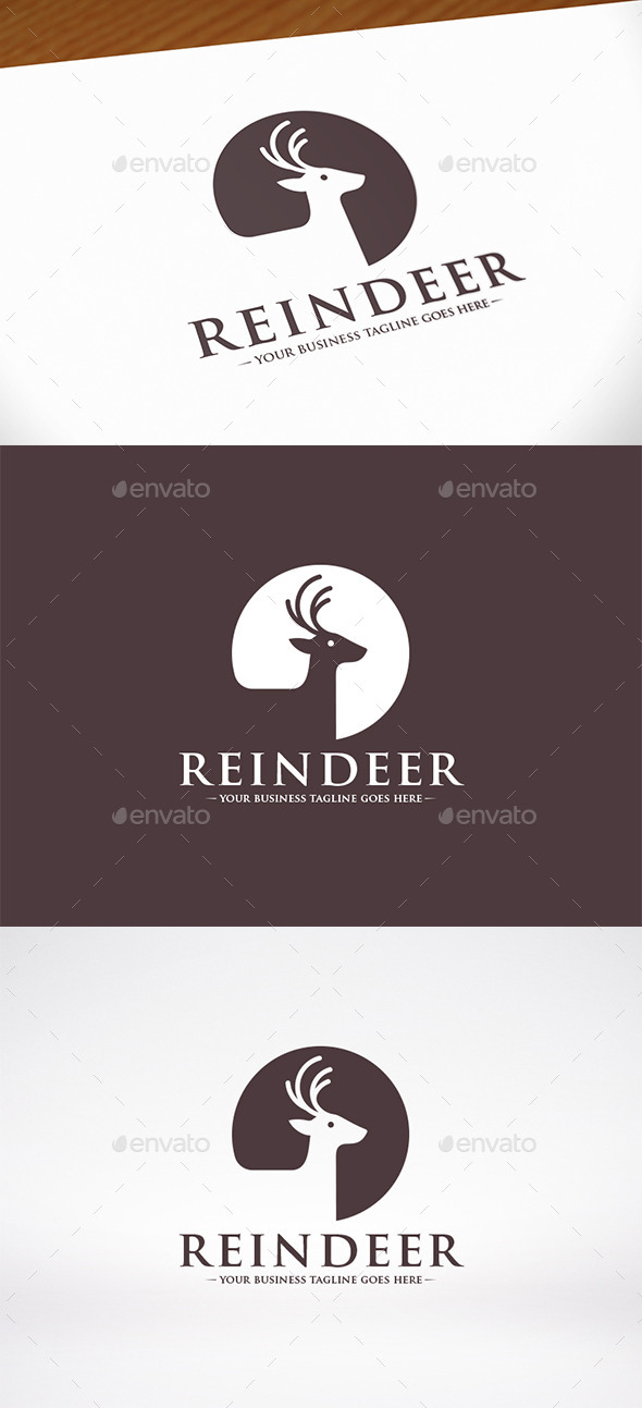 Reindeer Head Logo Template - Animals Logo Templates