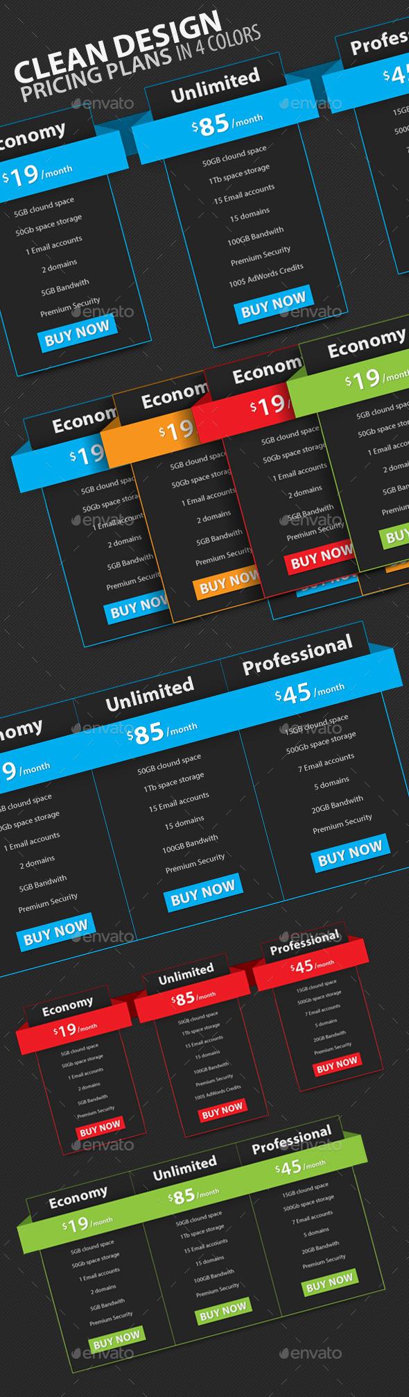 Clean Design Pricing Plans - Tables Web Elements