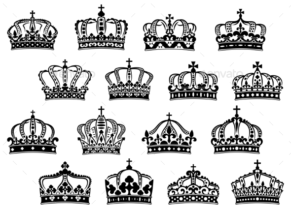 Royal or Imperial Crowns Set - Decorative Symbols Decorative