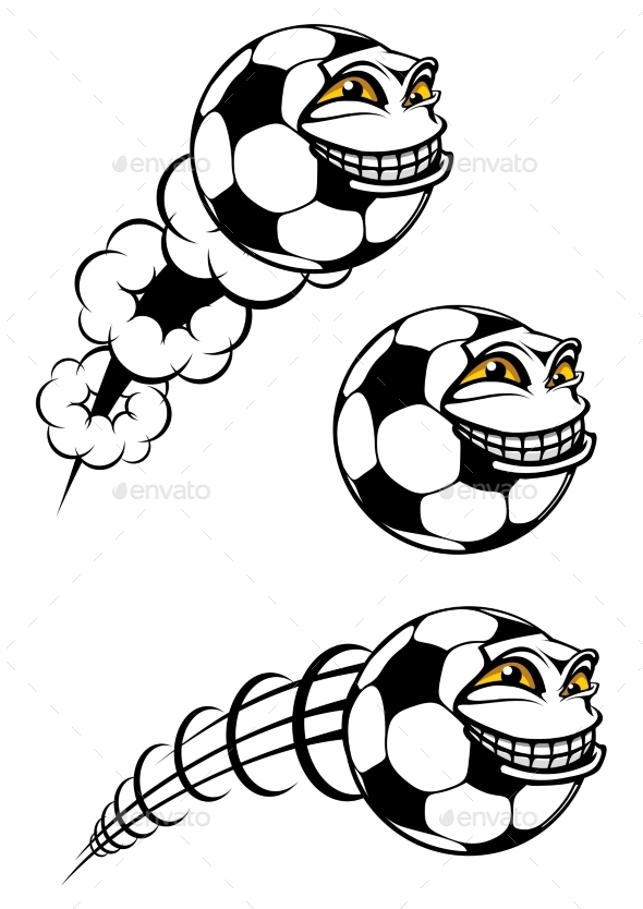 Flying Cartooned Soccer or Football - Miscellaneous Characters