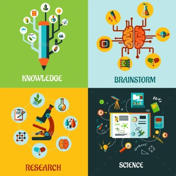 Research, Science and Brainstorm Flat Concepts - Health/Medicine Conceptual