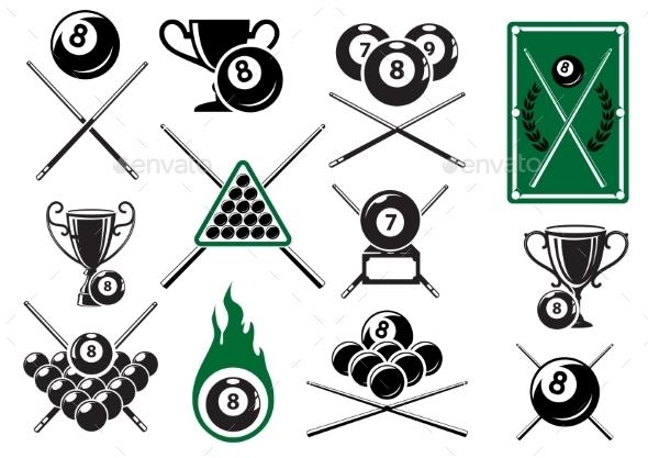 Billiard Emblems - Sports/Activity Conceptual