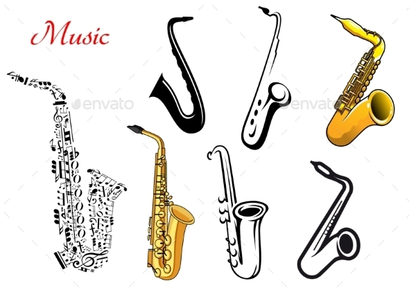 Cartoon Saxophone Musical Instruments - Man-made Objects Objects