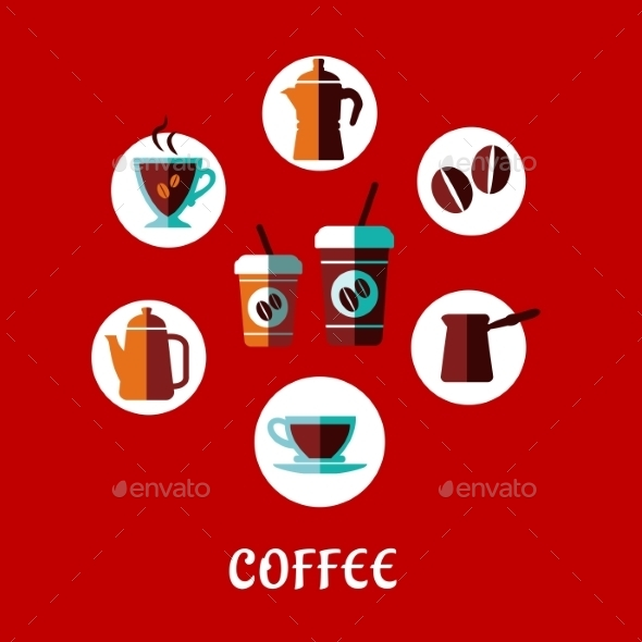 Coffee Drink Flat Concept - Food Objects