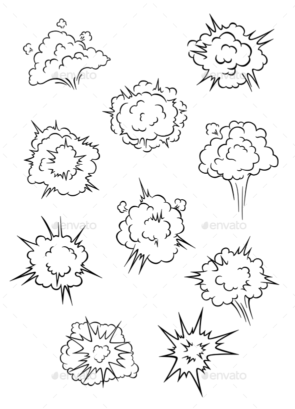 Assorted Cartoon Explosion Effects and Clouds - Miscellaneous Vectors