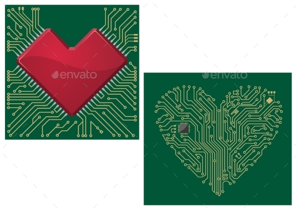 Computer Motherboard with Heart - Technology Conceptual