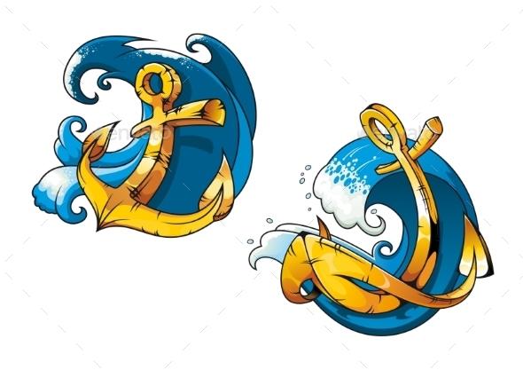 Cartoon Ship Anchors on Sea Water Waves - Tattoos Vectors