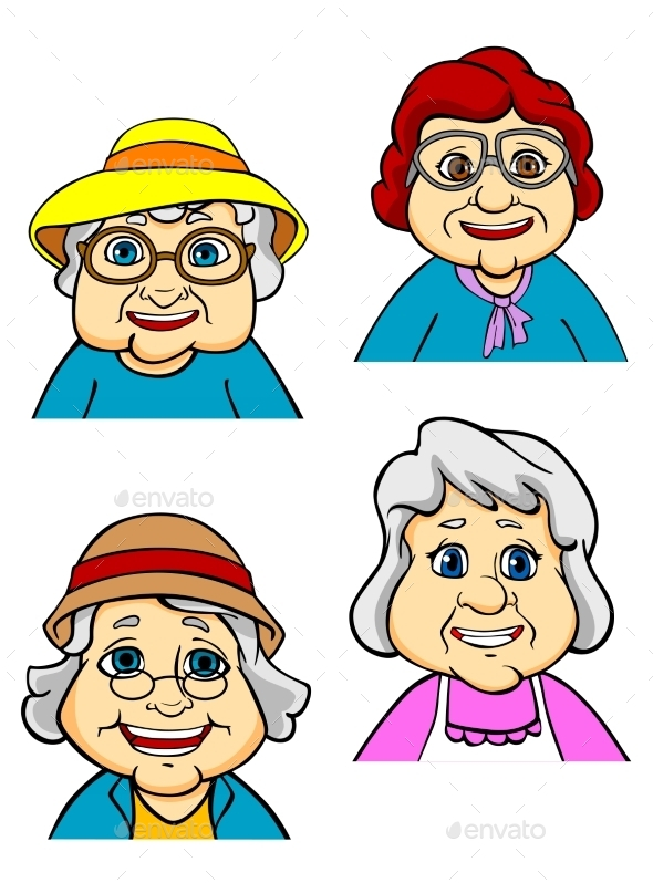 Cartoon Happy Old Women and Seniors - People Characters